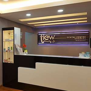 The front desk of Tiew Dental Clinic in Penang